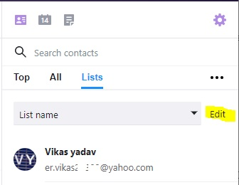 edit Contacts in yahoo mail
