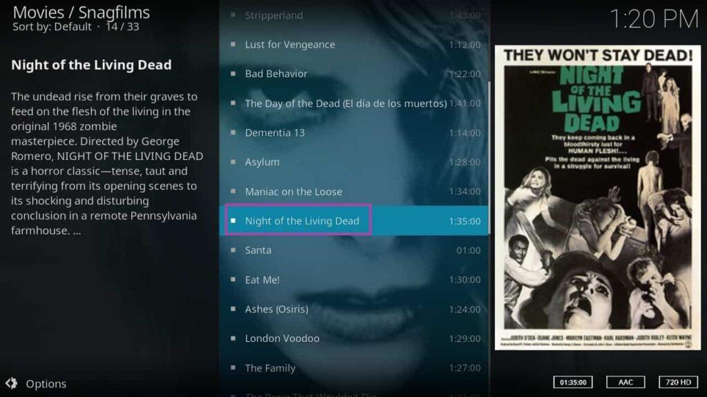 Screenshot of KODI, walkthrough of SnagFilms add-on.
