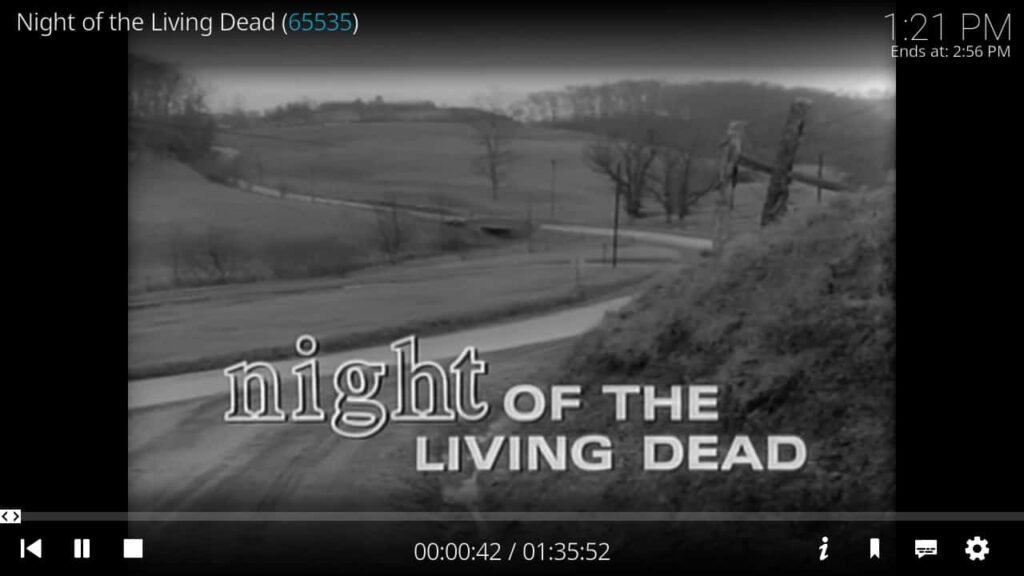 """Here is the Screenshot of movie playing """"Night of the Living Dead"""" in KODI."""