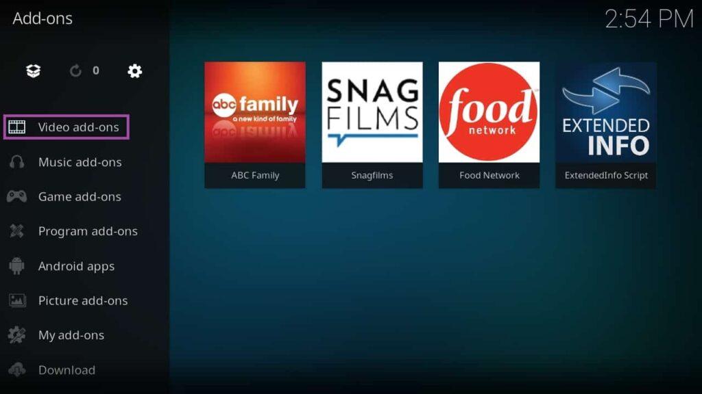 Screenshot of KODI app with all video add-ons.