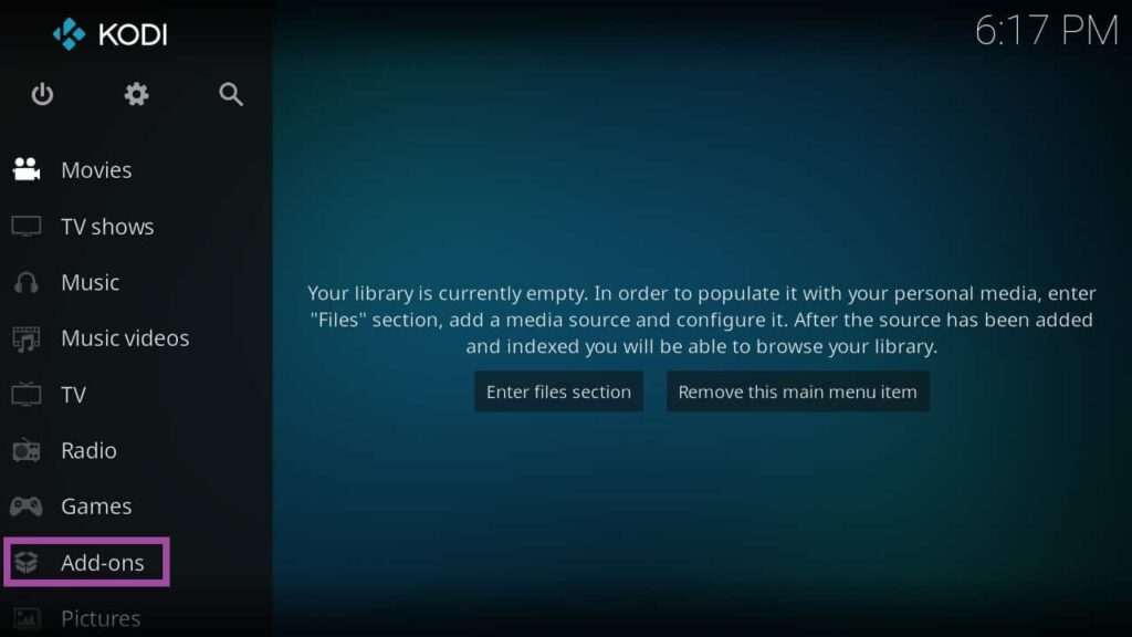 Screenshot of KODI, Streaming app to watch movies online and TV shows