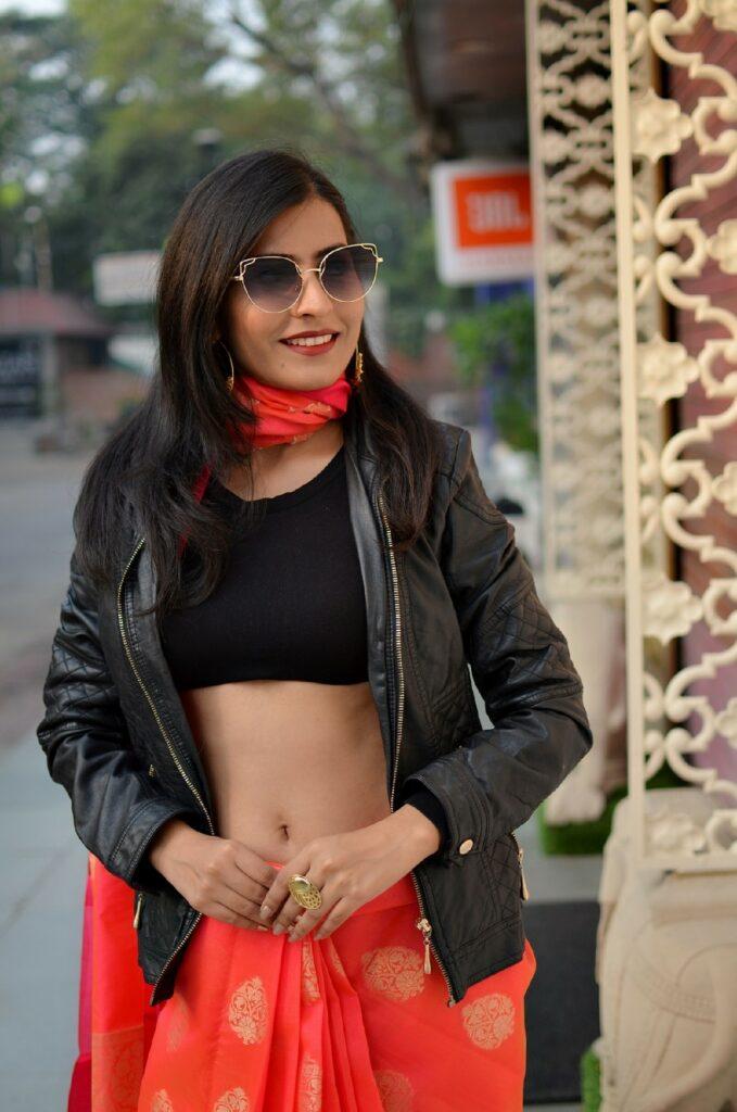 Western Saree Look