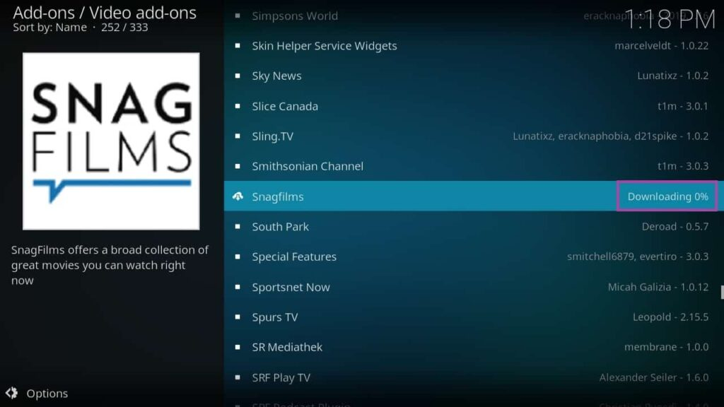 Screenshot of KODI, installing SnagFilms add-on.