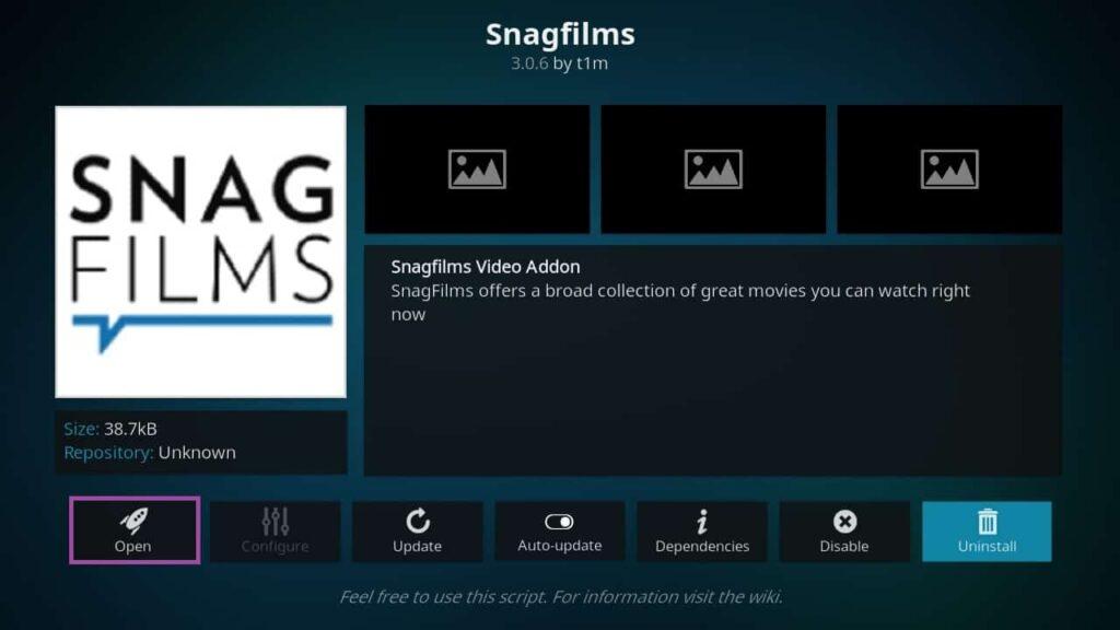 Screenshot of KODI, installing SnagFilms add-ons.