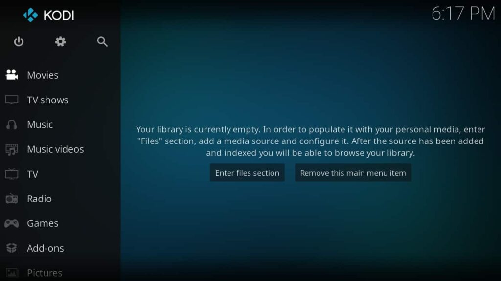Screenshot of KODI's home screen, Streaming app to watch movies online and TV shows
