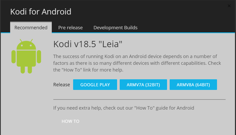 Screenshot of KODI, downloading options for android.