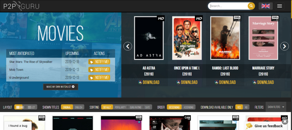 P2PGuru, One of the best movie download sites to download your favorite show or a full hd movie